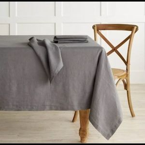 Vintage Wash Country Style Table Cloth Fog Gray